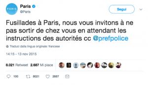 Esempi virtuosi di utilizzo dei social da parte della P.A. 1 - Gli attentati di Parigi